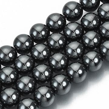 Non-Magnetic Synthetic Hematite Beads Strands, Grade A, Round, Gray, 8mm, Hole: 1mm; about 50pcs/strand, 15.5 inches(X-G-Q892-8mm)