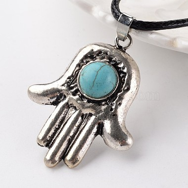 Hamsa Hand/Hand of Fatima/Hand of Miriam Antique Silver Tone Alloy Synthetic Turquoise Pendant Necklaces(NJEW-E075-05A)-2