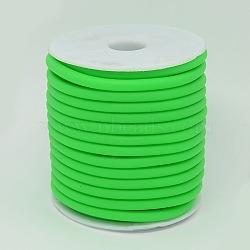 Cordon en caoutchouc synthétique, creux, enroulé aurond de plastique blanc bobine, limegreen, 5mm, trou: 3 mm; environ 10 m / rouleau(RCOR-R001-5mm-02)