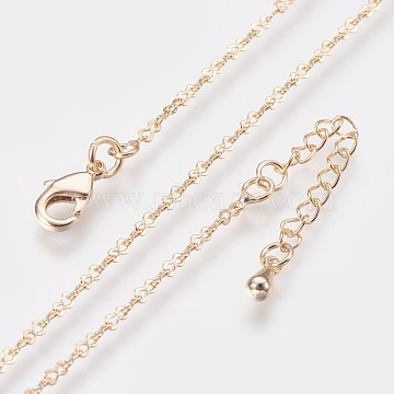 Long-Lasting Plated Brass Link Chain Necklaces, with Lobster Claw Clasp, Nickel Free, Real 18K Gold Plated, 18.3 inches (46.5cm), Link: 2.5~3x3mm(NJEW-K112-05G-NF)