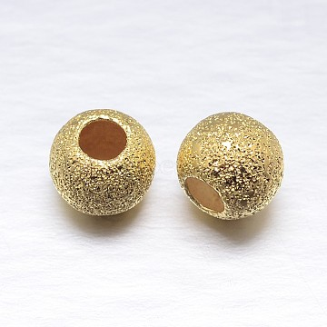 Real Gold Plated Round Sterling Silver Beads