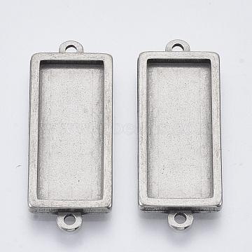 304 paramètres du connecteur de cabochon en acier inoxydable, cuvettes à bord droit, rectangle, couleur inox, plateau: 25x10 mm; 34.5x12x2.2 mm, trou: 1.6 mm(STAS-R101-06)