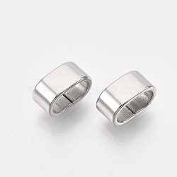 304 Stainless Steel Slide Charms, Rectangle, Stainless Steel Color, 5x10x6mm, Hole: 8x4mm(X-STAS-T045-46P)