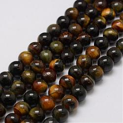Natural Tiger Eye Bead Strands, Round, 4mm, Hole: 1mm; about 88pcs/strand, 14.9''~15.5''