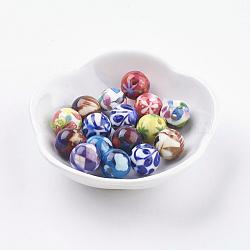 Perles en résine, rond, couleur mixte, 11~12mm, Trou: 2mm(RESI-E009-12mm-M)