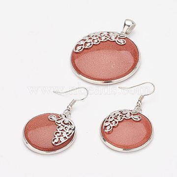 Synthetic Goldstone Pendants and Dangle Earrings Jewelry Sets, with Brass Findings, Flat Round, 41x36.5x6mm, hole: 4x7.5mm; 46mm, pin: 0.5mm(SJEW-F144-01P)