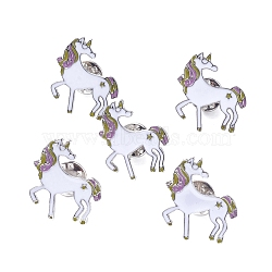 Alloy Brooches, with Enamel, Iron Pins and Brass Butterfly Clutches, Unicorn, Platinum, White, 26x24x11mm, Pin: 1.1mm(JEWB-I012-14)