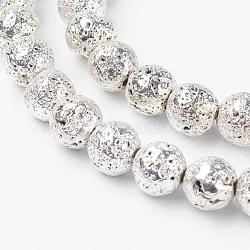 Chapelets de perle en lave naturelle électrolytique, rond, cahoteuse, argenterie, 8mm, trou: 1mm; environ 44 pcs/chapelet, 14.3'' (36.5 cm)(G-G732-8mm-08)