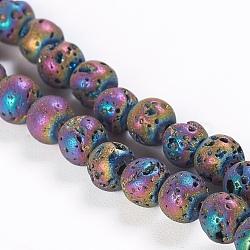 """Placage sous vide électrolytique brins de perles de lave naturelle, rond, multi-couleur plaquée, 4.5~5mm, trou: 1mm; environ 91 pcs/chapelet, 15.3"""" (39 cm)(G-P363-A05)"""