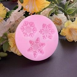 Moules en silicone de qualité alimentaire, moules fondants, pour la décoration de gâteau de bricolage, chocolat, candy, savon, fabrication de bijoux en résine uv & résine époxy, flocon de neige, rose, 55x10mm(DIY-E013-04)