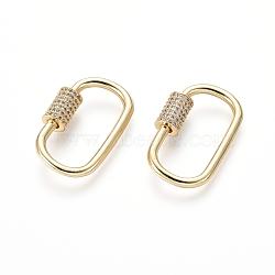laiton micro pavé zircone cubique vis verrouillage mousqueton porte-clés, charm mousqueton, pour la fabrication de colliers, ovale, or, 26x16x2 mm(ZIRC-I031-09G)