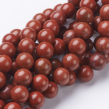 Natural Red Jasper Round Beads Strands, FireBrick, 10mm, Hole: 1mm, about 38pcs/strand, 15.5 inches(X-GSR10mmC011)