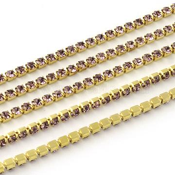 Nickel Free Raw(Unplated) Brass Rhinestone Strass Chains, Rhinestone Cup Chain, 2880pcs rhinestone/bundle, Grade A, Light Amethyst, 2.2mm, about 23.62 Feet(7.2m)/bundle(CHC-R119-S6-12C-1)