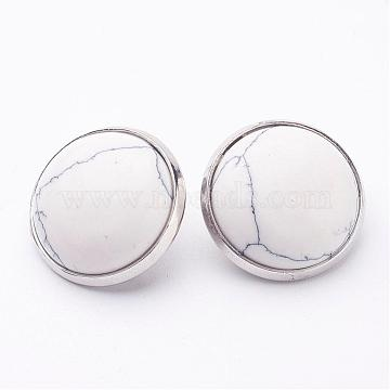 Synthetic Turquoise Brass Clip-on Earrings, Flat Round, Platinum, 14~15x12~13mm(EJEW-A051-A003)