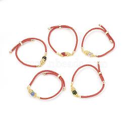 bracelets réglables en nylon, bracelets bolo, bracelets de slider, chaînes de boîte, avec maillons en laiton pavés d'oxyde de zirconium et verre, plaqué longue durée, Pi Xiu, réel 24 k plaqué or, couleur mélangée, 9 (23 cm) ~ 9-5 / 8 (24.5 cm); 2~3.5 mm(BJEW-F362-A01)