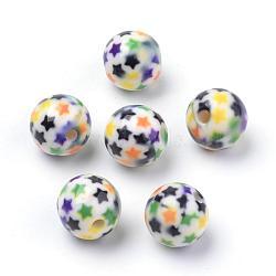 Perles acryliques imprimés opaques, ronde avec motif en étoile, colorées, 10x9.5mm, Trou: 2mm(MACR-S271-10mm-15)