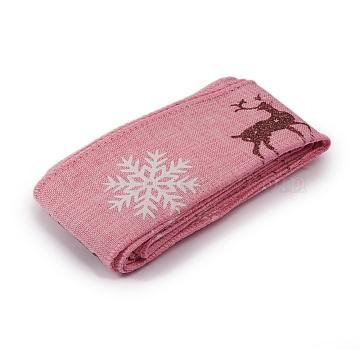 Christmas Burlap Ribbon, Hessian Ribbon, Jute Ribbon, Garment Accessories, Pink, 46x0.4mm; about 2m/bundle(SRIB-WH0006-15F)