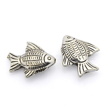 CCB Plastic Beads, Fish, Antique Silver, 23x20x7mm, Hole: 1mm(CCB-J029-56AS)