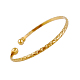 Perfect Design Real 18K Gold Plated Brass Torque Cuff Bangle(BJEW-EE0001-05)-1