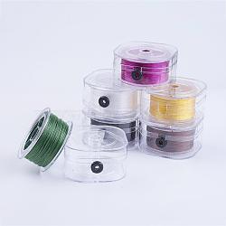 Chaîne de cristal élastique plat, fil de perles élastique, pour la fabrication de bracelets élastiques, couleur mixte, 0.6 mm; environ 50 m/rouleau(EW-I001-0.6mm-M)