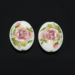 Flower Printed Acrylic Flat Oval Beads, White, 20x16x8mm, Hole: 2mm(SACR-O001-05A)