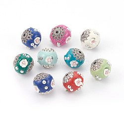 Handmade Indonesia Beads, with Metal Findings, Round with Flower, Antique Silver, Mixed Color, 16~17.5x14~16mm, Hole: 2mm(IPDL-E012-02)