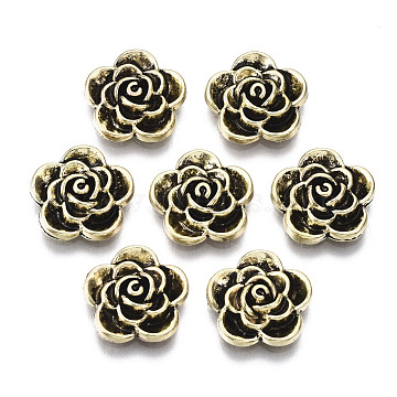 Tibetan Style Alloy Cabochons, Cadmium Free & Nickel Free & Lead Free, Flower, Antique Golden, 11.5x12x3mm(PALLOY-S125-101AG-NR)