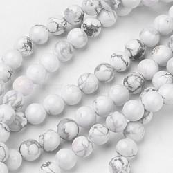 """Chapelets de perles en howlite naturelle, rond, 8mm, trou: 1mm; environ 47 pcs/chapelet, 15.4""""(G-D809-10-8mm)"""