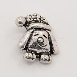 Boutons en alliage de zinc d'argent antique, chien boutons bijoux snap, Sans cadmium & sans nickel & sans plomb, 21x18x8 mm; bouton: 5 mm(SNAP-M004-19)