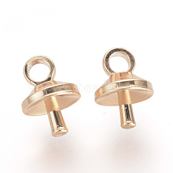 Soutiens-gorge tasse perle cheville bails broches pendentifs, pour la moitié de perles percées, or rose, 7x5x5mm, trou: 1.5 mm; broches: 1 mm(X-KK-R071-10RG)