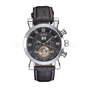 Alloy Watch Head Mechanical Watches, with PU Learther Cord Watch Band, Platinum, 260x22mm; Watch Head: 54x47.5x15mm; Watch Face: 36mm(WACH-L044-02P)