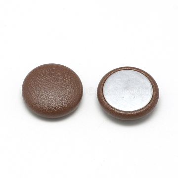 Imitation Leather Covered Cabochons, with Aluminum Bottom, Half Round/Dome, SaddleBrown, 20x6.5mm(X-WOVE-S084-05B)
