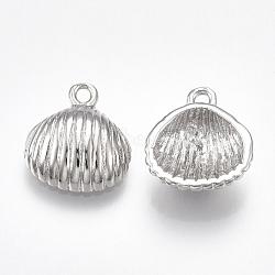 Pendentifs en laiton, pour la moitié de perles percées, coquille, Platine plaqué réel, 13.5x12x4mm, trou: 1 mm; broches: 0.8 mm(KK-T038-209P)