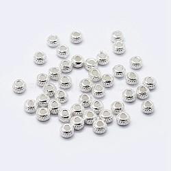 925 perles en argent sterling, rainuré, rondelle, argent, 4x3 mm, trou: 2 mm; environ 45 pcs / 10 g(STER-G022-15S)