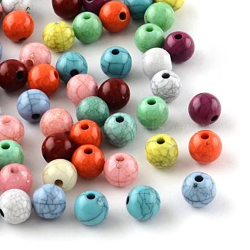 Imitation Turquoise Acrylic Beads, Round, Mixed Color, 8mm, Hole: 2mm(X-SACR-R889-14)
