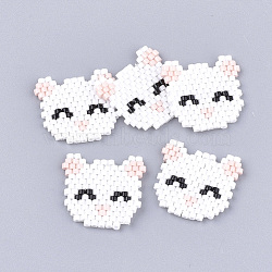 Handmade Kitten Japanese Seed Beads, Loom Pattern, Cat Head, White, 18.5~19x20x2mm(X-SEED-T002-37A)