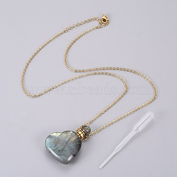 Natural Labradorite Openable Perfume Bottle Pendant Necklaces, with Stainless Steel Cable Chain and Plastic Teardrop, Heart, 19.96 inches(50.7cm); Bottle Capacity: 0.15~0.3ml(0.005~0.01 fl. oz), 2mm(G-K295-A03-G)