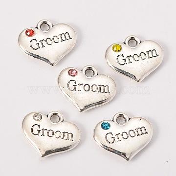 """Кулоны & подвески из сплава, для свадьбы, античное серебро, тибетский стиль, сердце, с буквами """"groom"""", разноцветные, 14x16x3 мм, отверстие : 2 мм(X-TIBEP-N005-20)"""