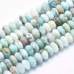 """Chapelets de perles en larimar naturel, grade AB, facette, rondelle, 8x4~5mm, trou: 1mm; environ 86 pcs/chapelet, 15.5""""(G-K256-57E)"""