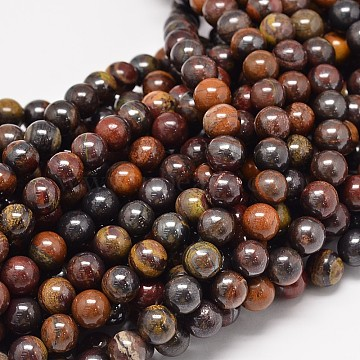 Natural Red Tiger Iron Round Bead Strands, 6mm, Hole: 1mm; about 62pcs/strand, 15.3 inches(G-P075-22-6mm)