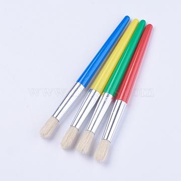 Paint Brush Children's DIY Graffiti Pen, Plastic Rod Pig Mane Painting Pen, Mixed Color, 18x1.4cm, 4pcs/set(AJEW-WH0096-98)