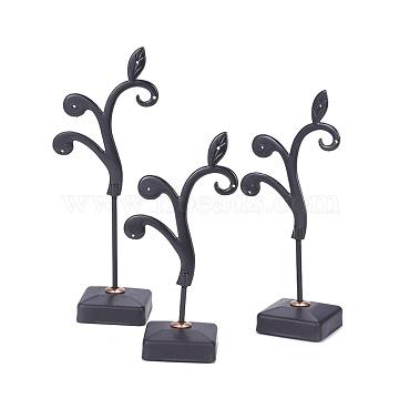 Iron Earring Displays Sets, Jewelry Display Rack, Jewelry Tree Stand, Gunmetal, 5.4x10.2~13cm; 3pcs/set(EDIS-L006-15B)