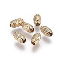 Perles de laiton texturées électroplaquées, Plaqué longue durée, ovale, or clair, 7x4mm, Trou: 1.8mm(KK-F789-32G)