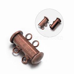 Fermoirs magnétiques coulissants de tube en laiton 2 -strands 4-trous, sans nickel, cuivre rouge, 16x10x7mm, Trou: 2mm(KK-D472-R-NF)