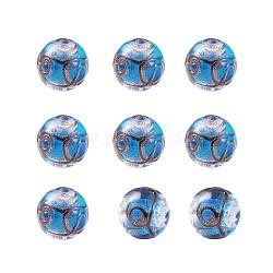 Perles vernissées de sable d'or manuelles , rond, bleu royal, 11.5~12mm, Trou: 1.2~2mm(LAMP-TAC0001-01D)