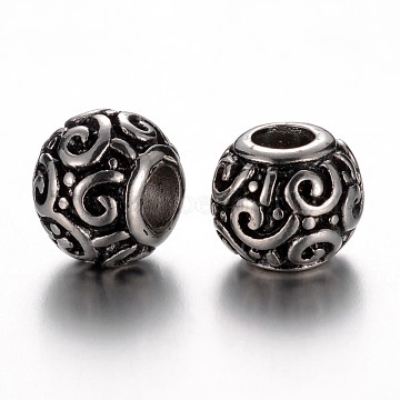 304 Stainless Steel European Beads, Rondelle, Antique Silver, 12x10mm, Hole: 4.5mm(STAS-F057-54AS)