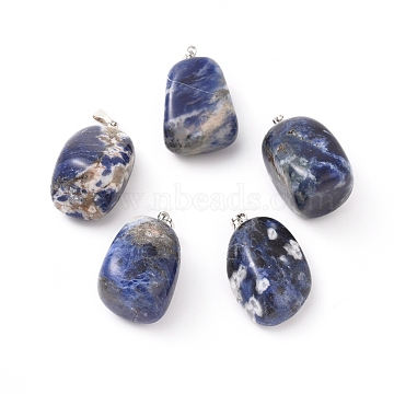 Natural Sodalite Pendants, with Platinum Tone Brass Findings, Nuggets, 23~30x13~22x12~20mm, Hole: 5x3mm(X-G-k302-B12)