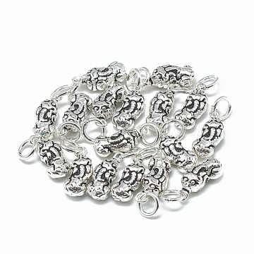Thai 925 Sterling Silver Charms, with Jump Ring, Pi Xiu, Antique Silver, 13.5x5.5x4mm, Hole: 4mm(STER-T002-21AS)