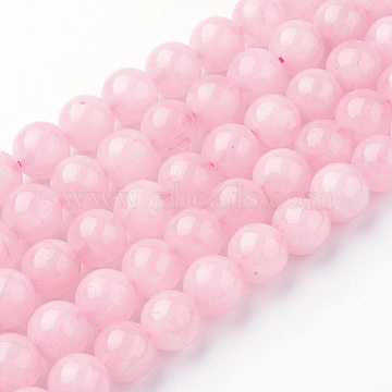Natural Rose Quartz Bead Strands, Round, 8~8.5mm, Hole: 1mm; about 45~47pcs/strand, 14.9 inches(38cm)(G-G735-59-8mm)