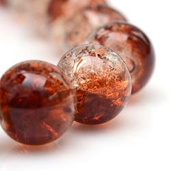 """Cuisson peints en verre craquelé brins de perles, rond, marron, 6mm, trou: 1.3~1.6mm; environ 133 pcs/chapelet, 31.4""""(X-CCG-S001-6mm-18)"""